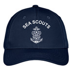 "Nat Council - Sea Scouts - C868 - Emb - Sea Scouts Uniform Cap (White Logo - ""Sea Scouts"" text above)"
