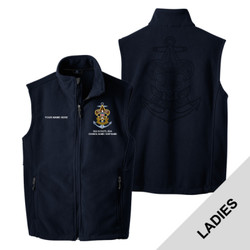 L219 - EMB - Ladies Fleece Vest with Laser Etch Back